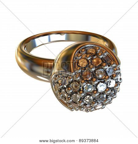 Ring With Gems On A White Background
