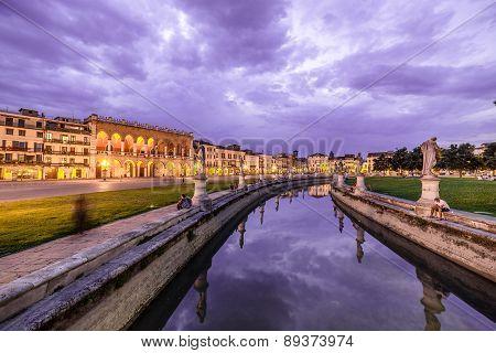 Padova Famous Ancient Prato Della Valle Square At Dusk