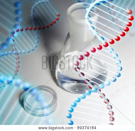 science, chemistry, medicine and laboratory concept - close up of flask with water or liquid chemical and little powder box on table over dna molecule structure