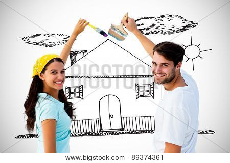 Happy young couple painting together against white background with vignette
