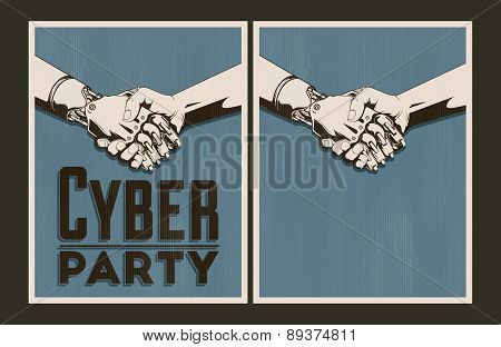 Set Of Vector Cyber Party Posters