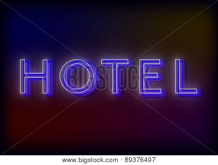 Neon hotel. Hotel neon sign, design for your business.