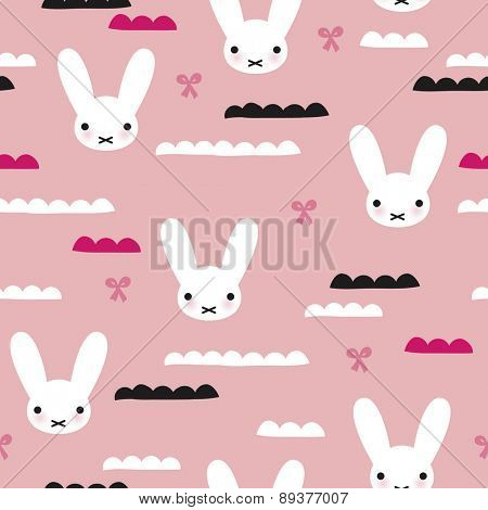 Seamless kids adorable white bunny and bow girls illustration japanese background pattern in vector