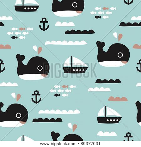 Seamless kids whale ocean life and sailing boat waves illustration blue background pattern in vector