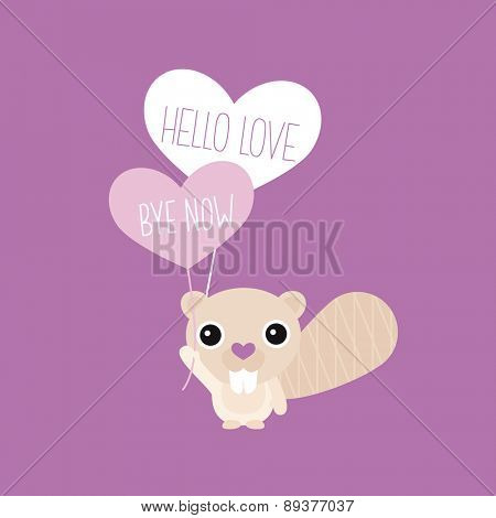 Adorable kids little beaver animal illustration with hello and good bye balloon violet background postcard cover template in vector