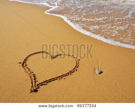 Heart on the sand beach. Conceptual design.