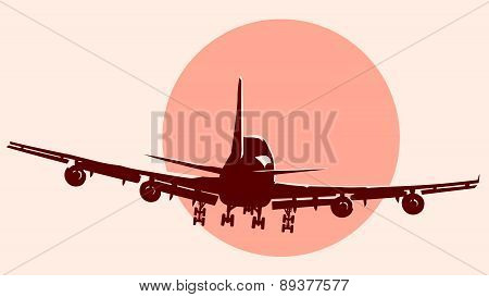 Round Logo Illustration Of Flying Airplane.