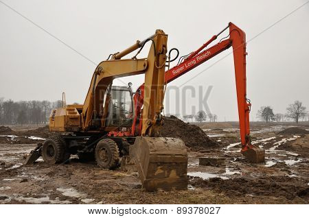Excavator Machines At Park Renovation