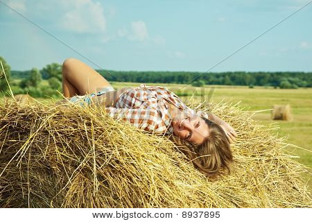 Girl On Fresh Straw
