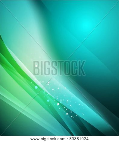Blue shining, waves and lines. Abstract background