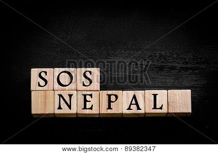 Message Sos Nepal Isolated On Black Background