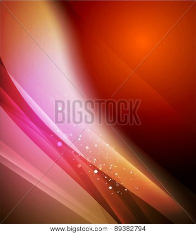 Color red and orange and light, waves and lines. Abstract background