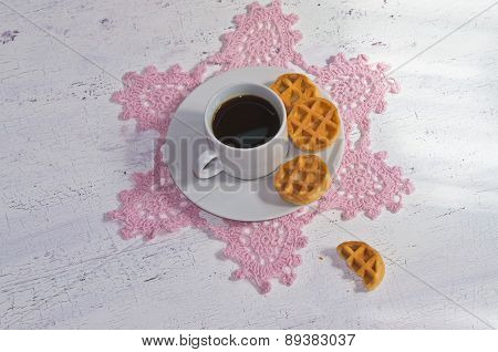 morning coffee with Belgian waffles