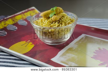 Bhujia on a tray