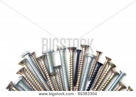 S Screw And Bolts Isolated Over White Background