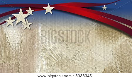 American Stars and Stripes against textured brush stroke background