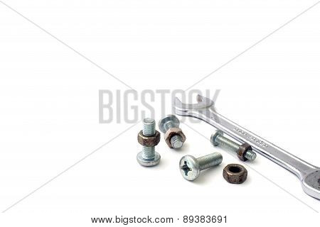 S Nuts And Bolts On A White Background