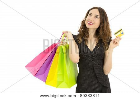 Shopping Woman With A Credit Card Looking To Copy Space