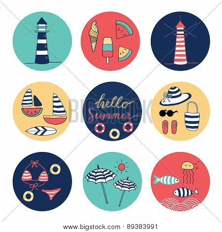 Hello Summer Doodle Colorful Circle Icons