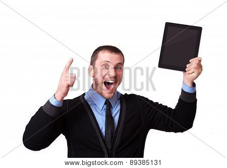 Happy Man With A Tablet In His Hand And Raised Finger Up, Isolated On White