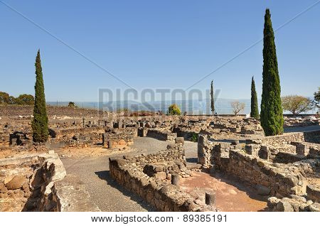 Ruins Of The Synagogue Of Capernaum On Kinneret, Israel