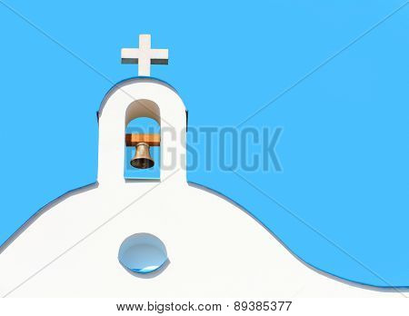 Bell tower. Architectural detail from Mediterranean Europe. Picture with space for your text.