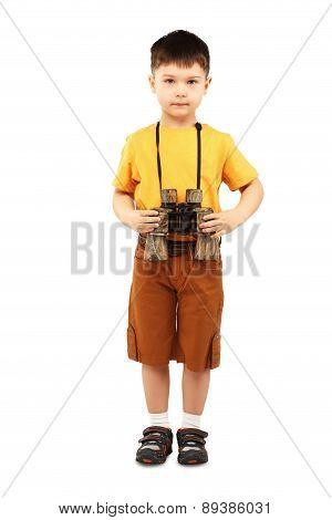 Little Boy Holding A Pair Of Binoculars