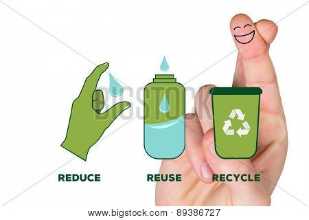 Smiling fingers against reduce reuse recycle