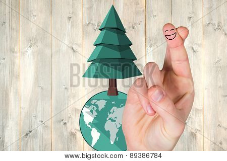 Smiling fingers against pale wooden planks