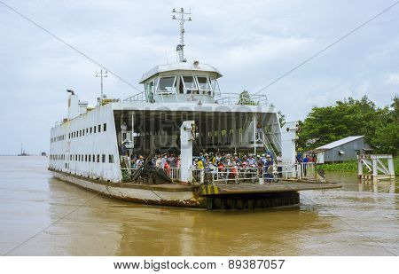 Passenger ferry on Mekong river