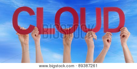 People Hands Hold Red Straight Word Cloud Blue Sky