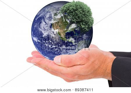 Businessman holding his hands out against tree with green leaves growing