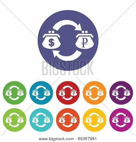 Dollar-ruble exchange icon set