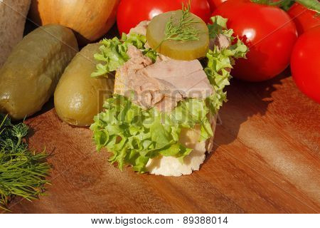 Slice Of Baguette Witht Tuna Fillet