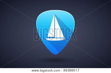Blue Guitar Pick Icon With A Ship