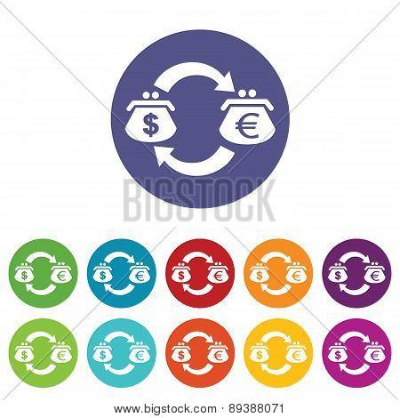 Dollar-euro exchange icon set