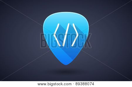 Blue Guitar Pick Icon With A Code Sign