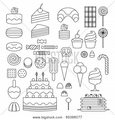 Set of sweet food outline icons.