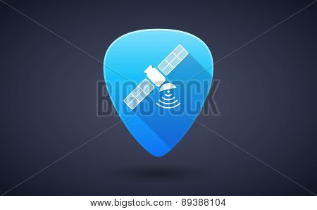 Blue Guitar Pick Icon With A Satellite