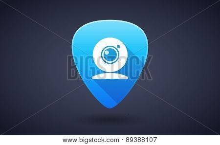 Blue Guitar Pick Icon With A Web Cam
