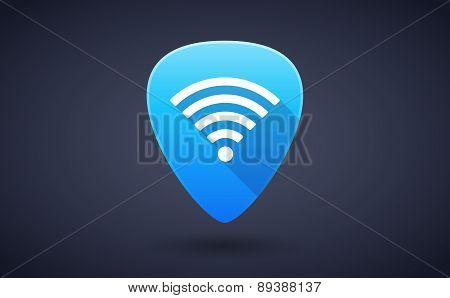 Blue Guitar Pick Icon With A Radio Signal Sign