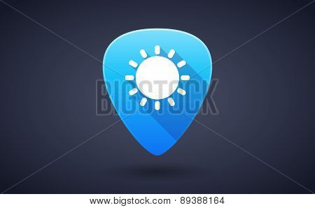 Blue Guitar Pick Icon With A Sun