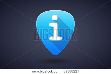 Blue Guitar Pick Icon With An Info Sign