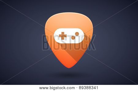 Orange Guitar Pick Icon With A Game Pad