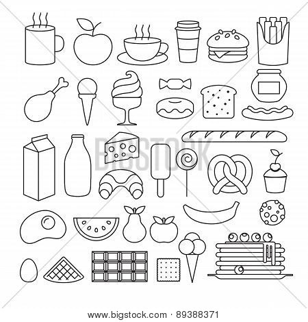 Set of different food outline icons.