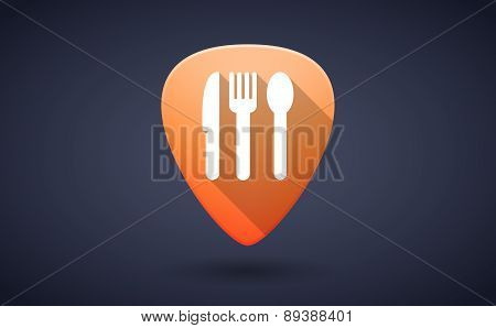 Orange Guitar Pick Icon With Cutlery