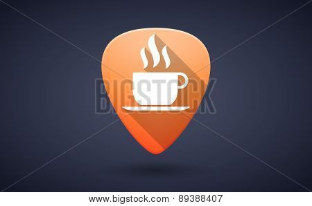 Orange Guitar Pick Icon With A Coffee Cup