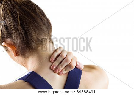 Fit brunette with neck injury on white background
