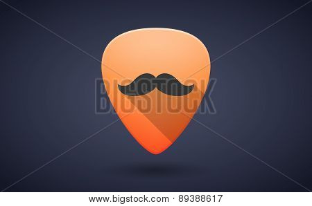 Orange Guitar Pick Icon With A Moustache
