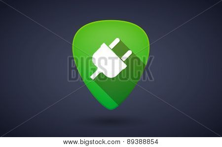Green Guitar Pick Icon With A Plug